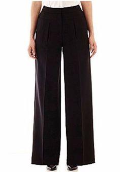 NWT WORTHINGTON WIDE LEG PLEATED TROUSER - BLACK - SIZE 12 #Worthington #DressPants