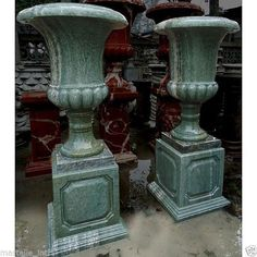 """Large Marble Urns Green Hand Cut w/ Bases Pair Estate Size 43"""" Tall New FreeShip #asd"""