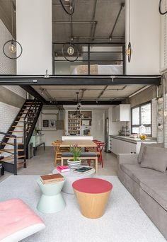 Industrial loft with candy colors palette - 2019 - Apartment Diy Vintage Industrial Decor, Industrial Interiors, Loft Estilo Industrial, Industrial Style, Metal Industrial, Design Industrial, Industrial Loft Apartment, Design Loft, Design Design