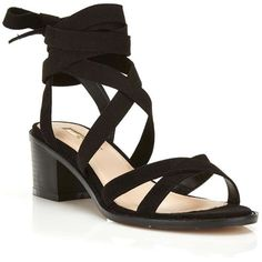 Miss Selfridge Sadie Wrap Sandal ($50) ❤ liked on Polyvore featuring shoes, sandals, black, wrap shoes, black shoes, low shoes, low block heel sandals and miss selfridge