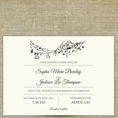 Ski Resort Skyline Destination Wedding Invitation By PixieChicago