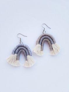Lilac Macrame Earrings, Pastel Purple Rainbow, Pastel Arch Tassel Earrings, Woven Yarn Jewelry by TheGentleCoast on Etsy
