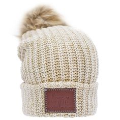 d88af963a7b This pom beanie is knit from cotton yarn in natural and hemp colors. It  features a brown leather patch debossed with the Love Your Melon logo and a  ...