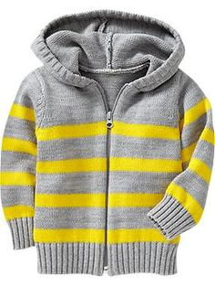 Yellow and Grey work well together Striped Sweater Zip Hoodies for Baby | Old Navy #OnKidacular