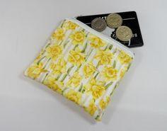 Yellow Daffodils Fabric Coin Purse - Free P&P £5.00