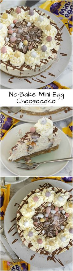 No-Bake Mini Egg Cheesecake! A Delicious & Sweet No-Bake Vanilla Cheesecake with a Buttery Biscuit Base, full to the brim with Mini Eggs - Perfect *non*bake for Easter! (no bake cake caramel) Desserts Ostern, Köstliche Desserts, Delicious Desserts, Dessert Recipes, Yummy Food, Health Desserts, Holiday Desserts, Cupcake Recipes, No Bake Vanilla Cheesecake