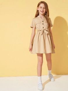 To find out about the Girls Flap Pocket Front Self Belted Shirt Dress at SHEIN, part of our latest Girls Dresses ready to shop online today! Teenage Girl Outfits, Girls Fashion Clothes, Kids Outfits Girls, Teen Fashion Outfits, Girl Fashion, Cute Girl Dresses, Cute Girl Outfits, Cute Casual Outfits, Pretty Outfits