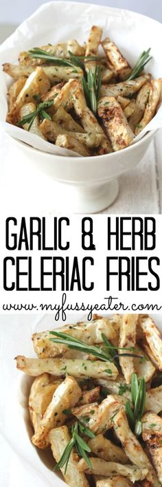 Garlic and Herb Celeriac Fries. A delicious low calorie, low carb and low fat side dish and an alternative to unhealthy french fries