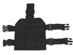 """Airsoft Molle Drop Leg Panel Platform Black by AirSoft. $20.99. FEATURES: Made by high density Nylon material. 1"""" molle webbing for attaching pouches, holster or accessories. Drop leg panel is adjustable with velcro closure and elastic strap with snap. DETAILS: Color - Matte black Size - 8.5"""" x 9"""" Weight - 153g"""