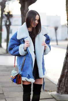 Gigantic shearling jacket with feminine undertones