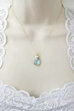 Aquamarine Necklace Birthstone Necklace por IrinasGemsandStamps