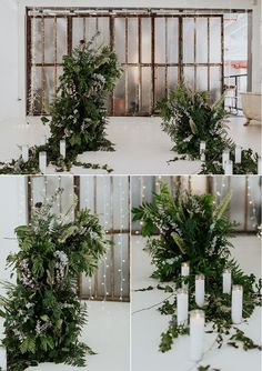 Greenery forward ceremony space in an industrial modern wedding   Image by Masson Liang