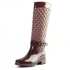 AlEXIS LEROY New Arrival Warm Winter Women Knee High Checkered Pattern Side Zip Rain Boots Shoes 38 EU  775 US Brown >>> You can find more details by visiting the image link.