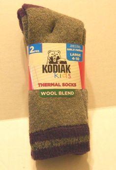 Girls Socks Shoe Size Large 4 10 Thermal Wool Blend Charcoal Purple   eBay