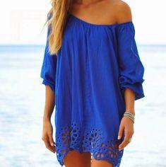 dress blue dress beach coverups sweater blue over sized sweater dress royal blue eyelet off the shoulder blue lace dress