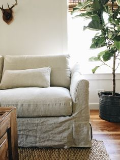Rustic shabby chic vibes | The White Farmhouse blog updated her IKEA Färlöv sofa with a Bemz cover in Natural Brera Lino linen | Natural coloured slipcovered linen sofa | rustic coffee table and a sisal rug add warmth | fiddle leaf tree