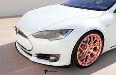 Tesla Model S TS117 forged 21 inch aftermarket wheels uber rose