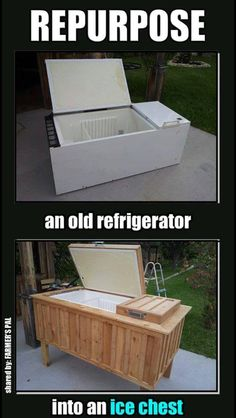 Repurpose old fridge as outdoor cooler. I want rouse this idea with my mini fridge from school that doesn't work anymore!! #GENIUS