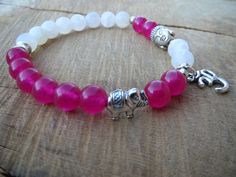 Women Yoga Bracelet, Pink Agate Snow Quartz Ohm Om Lucky Elephant Buddha Bracelet, Wrist Mala, Stretch Charm Bracelet, Meditation, Calming