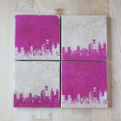 Philadelphia Skyline Coaster Set (Pink) Modern Home Decor, Philly Cityscape Art, Handmade Gift