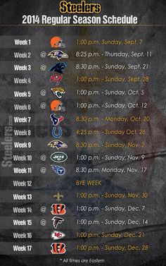 PITTSBURGH STEELERS~2014 Steelers Schedule