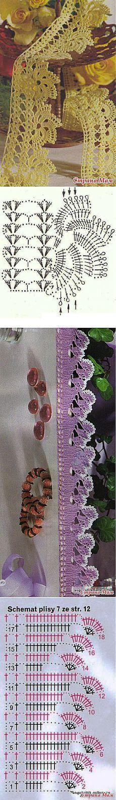Crochet Lace Edging Pattern Link 41 New Ideas Crochet Boarders, Crochet Edging Patterns, Crochet Lace Edging, Crochet Diagram, Crochet Chart, Crochet Designs, Crochet Doilies, Crochet Flowers, Col Crochet