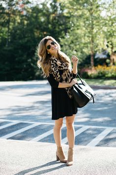 black swing dress with boots, leopard scarf, dress with ankle booties, black dress with leopard print scarf, celine phantom tote, pointed toe suede booties and swing dress outfit, pre-fall transitional outfit