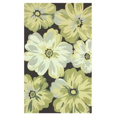 Add stylish appeal to your living room or den with this hand-hooked rug, showcasing an oversized floral motif in green.   Product: ...