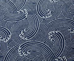 Tissu japonais traditionnel motif vague gris écru 153x50cm