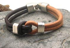 LIVRAISON EXPRESS de cadeau pour lui bracelet pour homme en cuir marron et cuir naturel, bracelet noeud marin avec des intercalaires en plaqué argent et fermoir