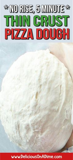 This Thin Crust Pizza Dough is super quick –  we're talking 5 minutes.  It's a no-rise dough, so you don't have to wait around for the dough to do its thing – which is perfect for a fast and easy weeknight dinner.  Why not try a summer grilled pizza? #pizza #pizzaparty #grilledpizza #bestpizzadough