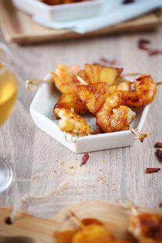 Brochettes de crevettes et ananas caramélisés au piment d'Espelette