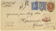 Netherlands Indies 1898. Tegal to Remiremont/France. Registered 10c brown King stationery with adtl. 5c and 20c blue Queen W., tied d.s. Several transits and a...