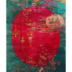 Fantastic Chinese Deco carpet with turquoise field with a deep cranberry oval inset with hanging lanterns, a Chinese temple suspended on inc...