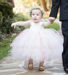 Ivory Lace Flower Girl Tutu Dress with Coral & Blush Pink