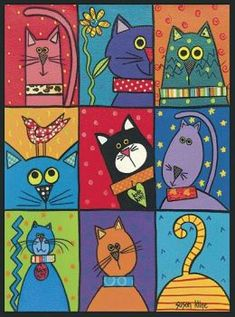 Cat Patch – these would be adorable painted on individual tiles and put around a mirror or in a tray or table! Cat Patch – these would be adorable painted on individual tiles and put around a mirror or in a tray or table! Arte Elemental, Art Fantaisiste, Cat Patch, Cat Quilt, Cat Crafts, Cat Drawing, Whimsical Art, Elementary Art, Doodle Art