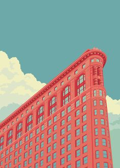 Flatiron Building New York City - A gallery-quality illustration art print by Remko Gap Heemskerk for sale. Flatiron Building, Free Illustration, Building Illustration, Wallpaper Paisajes, City Poster, New York Poster, Travel Posters, Illustrations Posters, New York City