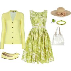 "Created by my 10 yr old daughter! ""spring green and yellow by Angelique"" created by #veronicaarthur, #polyvore #fashion #style Antonio Marras Burberry Brit #Bloch #Oasis #Ettika"