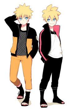Naruto and Boruto // Father and son // so cute x3