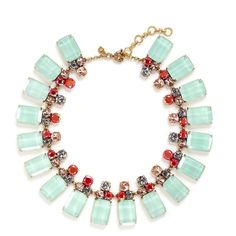 j.crew Frosted lucite necklace ($120) ❤ liked on Polyvore featuring jewelry, necklaces, party jewelry, j crew jewelry, acrylic necklace, party necklaces and mint green necklace