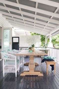 A simple kitchen renovation turned into a full-scale interior overhaul for this classic Queenslander home. Outdoor Rooms, Outdoor Living, Queenslander House, Rattan Dining Chairs, Hamptons House, House And Home Magazine, Lounge Areas, House Colors, Patio