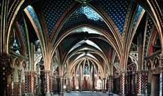 France, Paris, Sainte Chapelle, Interior, Lower Chapel