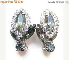 ON SALE Vintage Weiss Clip Earrings Smoke Rhinestone Rhodium Plated  Signed (28.00 USD) by redroselady