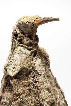 Vanha rakkaus I by Ulla Pohjola Bird Sculpture, Fabric Birds, Textile Art, Archaeology, Sculpting, Insects, Fiber, Wildlife, Creatures