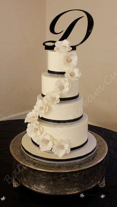 Bling and sugar flowers wedding cake.