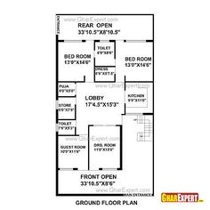 House Plan for 35 Feet by 65 Feet plot (Plot Size 253 Square Yards) New House Plans, Small House Plans, Hotel Floor Plan, House Map, Ground Floor Plan, Apartment Plans, Architecture Plan, 200 Yards, Commercial