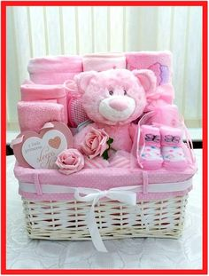 baby shower gift basket ideas for boy baby shower gift basket ideas for boyHow to Make Lovely Baby Baskets Ideas?Baby shower baskets are great if you want to quickly put toge Baby Girl Gift Baskets, Baby Gift Hampers, Baby Shower Gift Basket, Baby Shower Niño, Shower Bebe, Diy Gift Baskets, Baby Girl Gifts, Gifts For Girls, Baby Shower Gifts