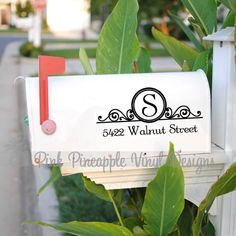 One Custom Mailbox Decal Personalized Initial and Address. $7.00, via Etsy.