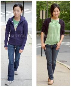 Extra Petite: How to Look Older in Casual Attire.   Now only if there was a way to do this but with my style instead of a slightly preppy/professional look...