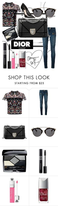 """""""dior looks"""" by unicorn1109 ❤ liked on Polyvore featuring Needle & Thread, Balmain and Christian Dior"""